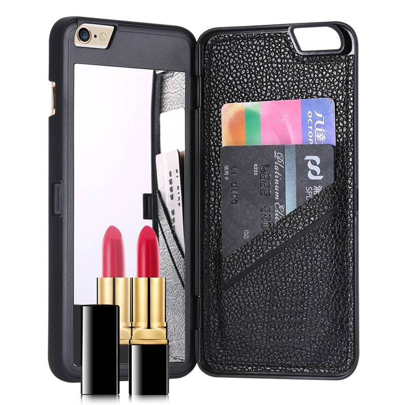 Dual function mirror card slot holder case cover for coque for Coque iphone 6 miroir