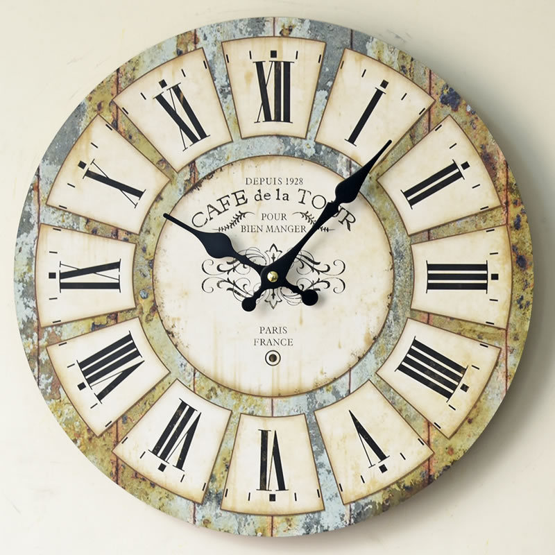 Us 2487 Kreatywne Nostalgia Rzym Duży Zegar ścienny Kwarcowy Uchwyt Kuchnia Drewno Wyciszenie Zegary Dekoracja Do Domu W Zegary ścienne Od Dom I