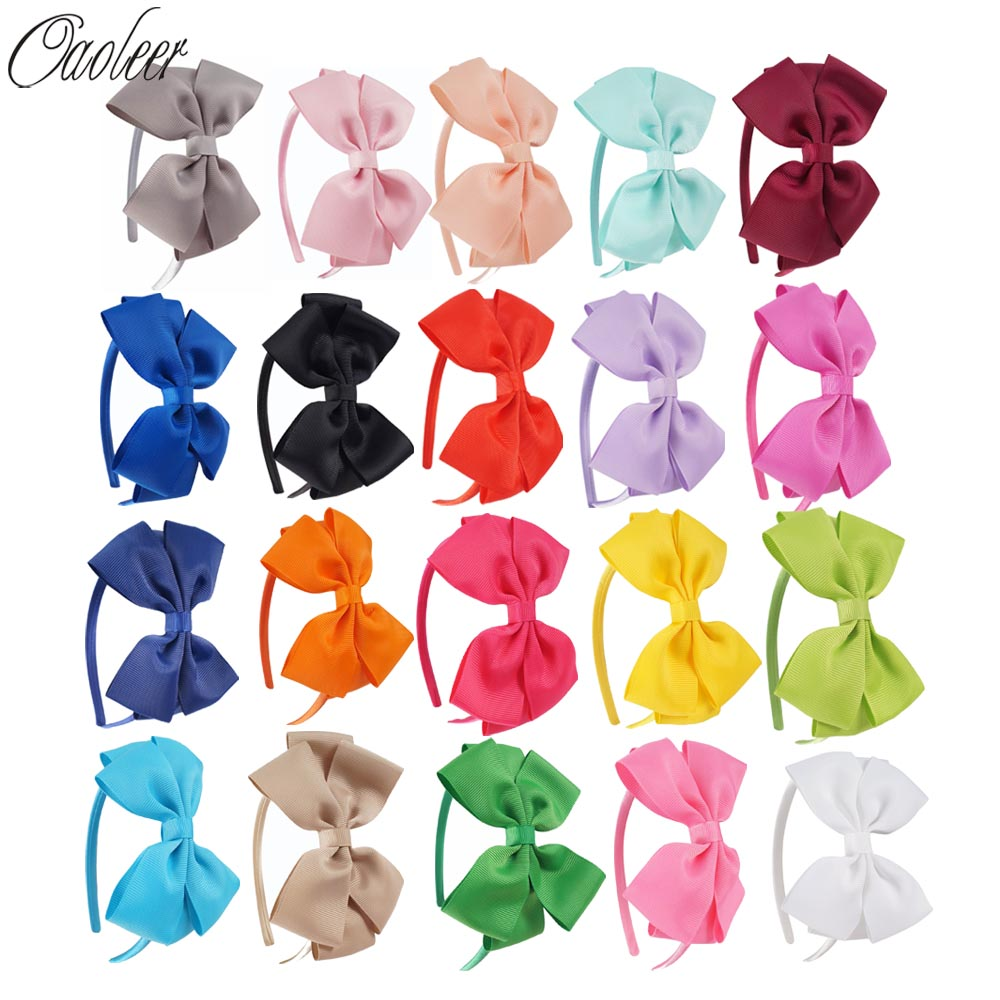 20pcs/Lot Girls Solid Hairband grosgrain ribbon Hair Bow Headband Handmade Kids Hair Accessories Birthday Christmas Gift 10pcs lot high quality hair band with grosgrain ribbon flower for girls handmade flower hairbow hairband kids hair accessories