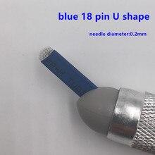 купить shipping 50 PCS 18 Pin U Shape Tattoo Needles Permanent Makeup Eyebrow Embroidery Blade For 3D Microblading Manual Tattoo Pen по цене 651.31 рублей