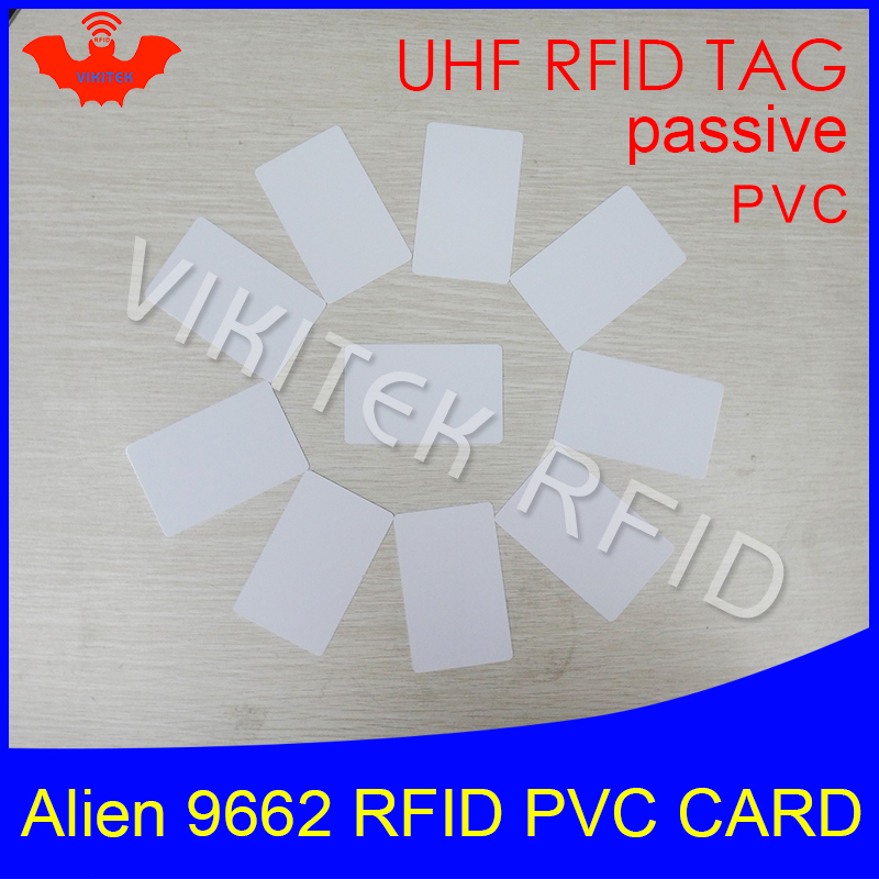 RFID tag UHF PVC card Alien 9662 EPC6C 915mhz 868mhz 860-960MHZ Higgs3 85.7*54*0.8mm long distance smart card passive RFID tags 1000pcs long range rfid plastic seal tag alien h3 used for waste bin management and gas jar management