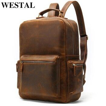 WESTAL male backpack crazyhorse leather laptop backpack for men travel daypack vintage schoolbag portable designer rucksack 8873