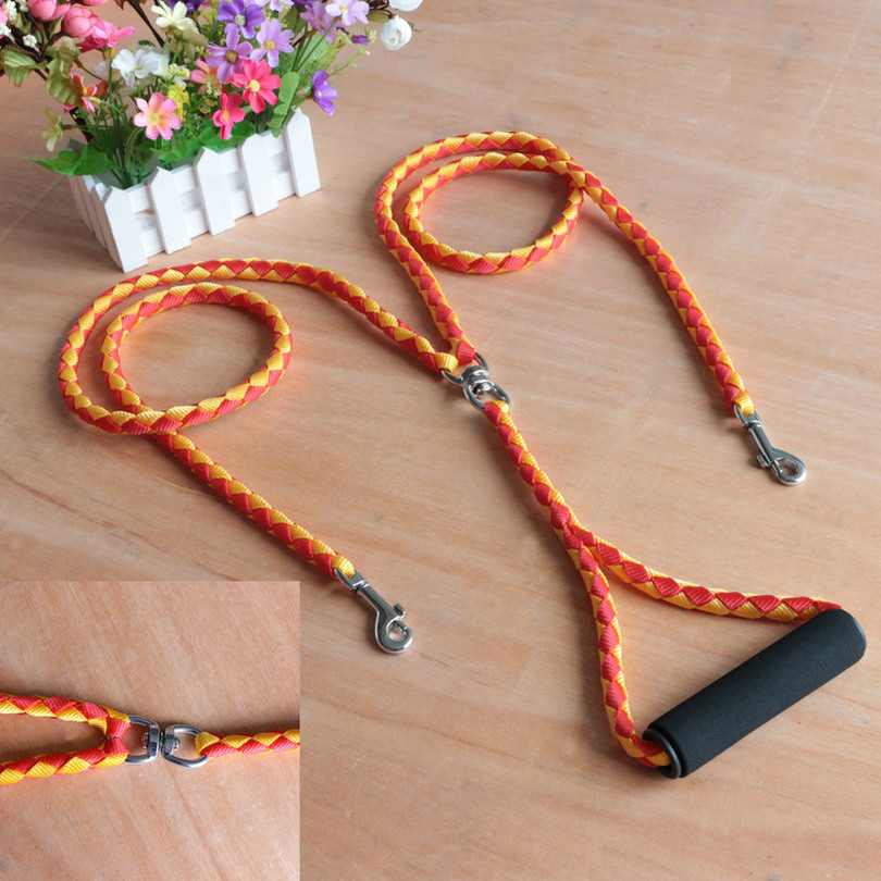 1pcs Double Dog collar and Leash set Braided Nylon Led dog collar Coupler For Training Two Dogs Double Headed Traction Rope 2019 in Leashes from Home Garden