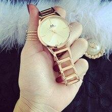Ginebra de la manera Reloj de Las Mujeres Vestido de Oro Rosa Relojes de Acero Lleno de Cuarzo Analógico Reloj de Los Hombres Relogio masculino