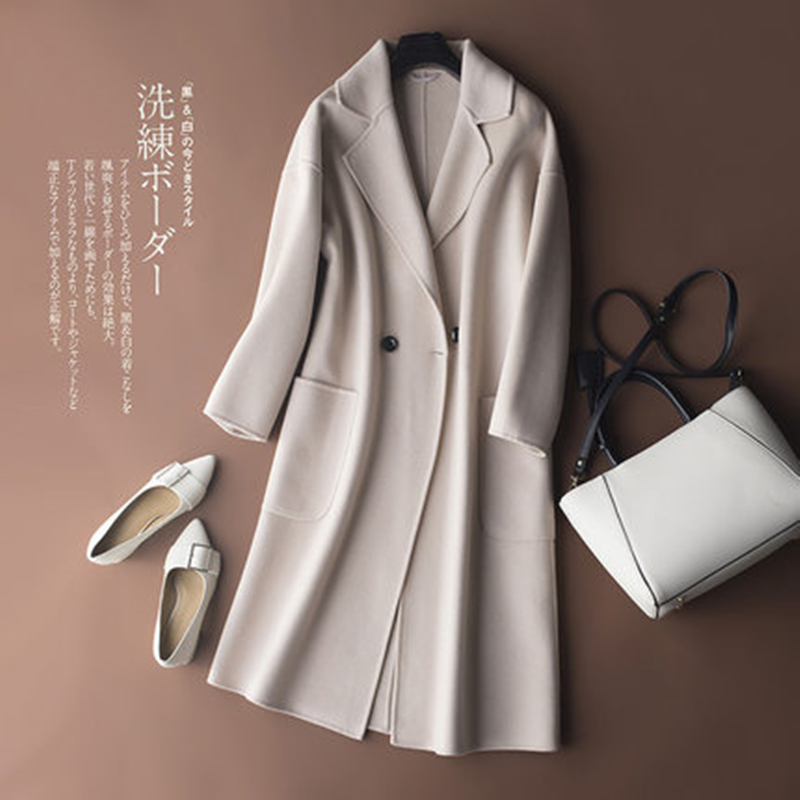 jacket women's wool blend coat korean coat pocket long female cashmere coat Button winter woman 2018 plus size Solid color coat