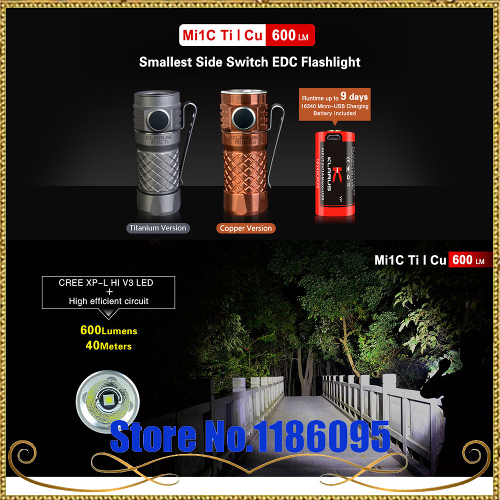 KLARUS Mi1C Ti/Cu CREE XP-L HI V3 max. 600LM mini torch + 16340 Li-ion rechageable Battery small size torch for EDC