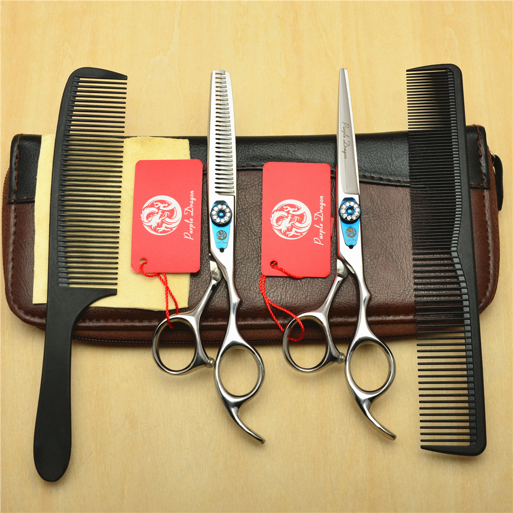 4Pcs Suit 6.0 Purple Dragon 440C Professional Human Hair Scissors Hairdressing Cutting Shears + Thinning Scissors + Comb Z10154Pcs Suit 6.0 Purple Dragon 440C Professional Human Hair Scissors Hairdressing Cutting Shears + Thinning Scissors + Comb Z1015