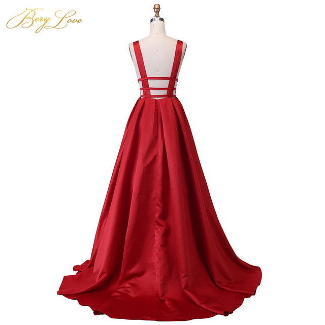 Berylove Sexy Red Evening Dress 2019 Elegant Satin Evening Gown Long Formal Abiye Prom Party Dress vestido longo festa 04010248 4