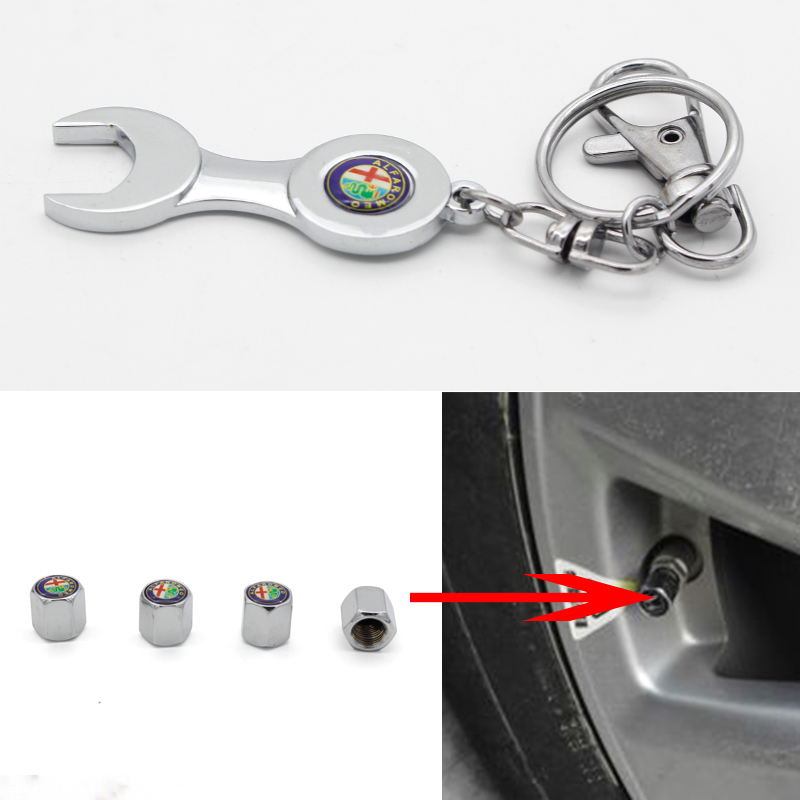 Car Wheel Tire Valve Caps with for Alfa Romeo Emblem Keyring Tyre Valve Caps Set 4