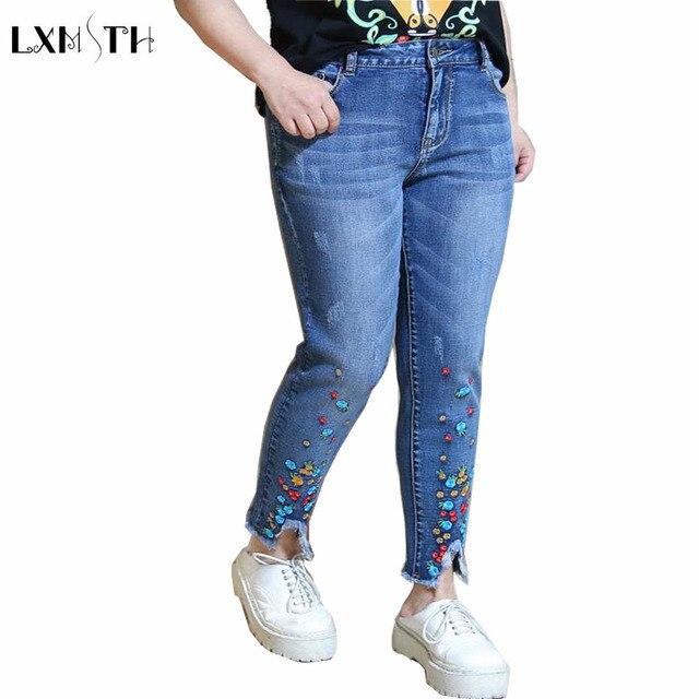 2xl 3xl 4xl femmes jeans pantalon 2018 printemps taille haute occasionnels pantalon jeans femme. Black Bedroom Furniture Sets. Home Design Ideas