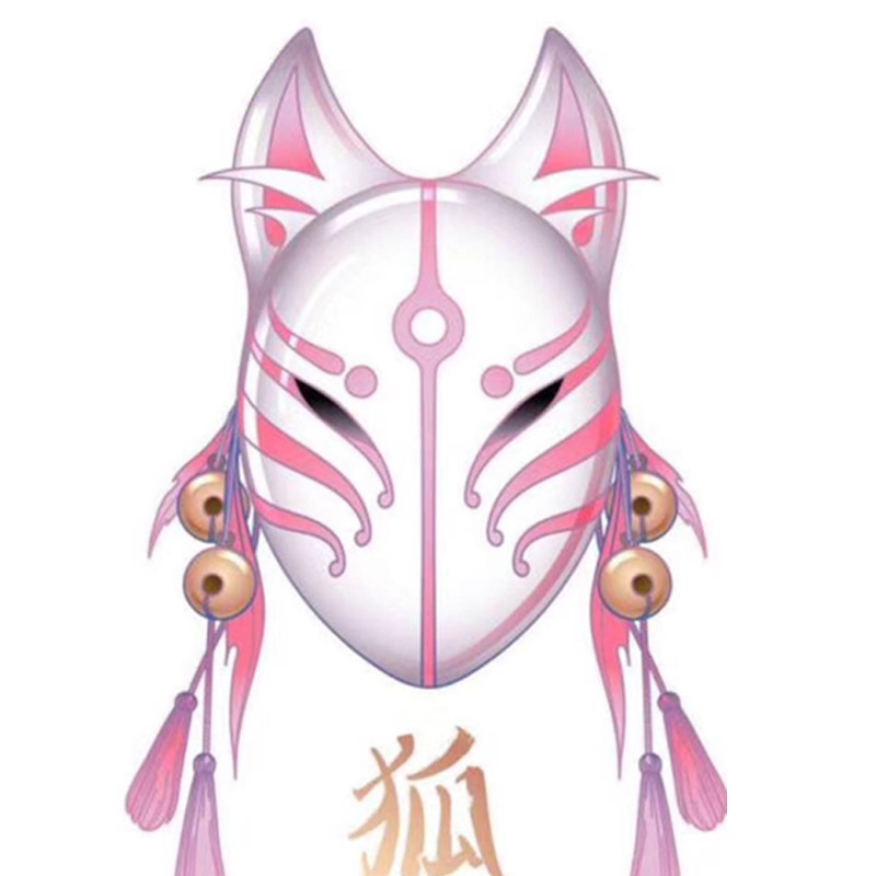 Japanese Fox Masks Cat Face Mask PVC Japanese Style Wind Fox Anime Cosplay Costumes Rave Masquerade Cosplay Mask Japanese Mask