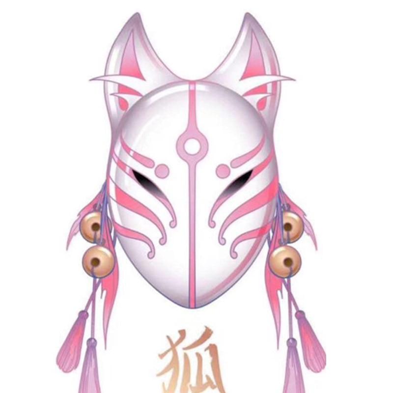 Japanese Fox Masks Cat Face Mask PVC Japanese Style Wind Fox Anime Cosplay Costumes Rave Masquerade Cosplay Mask Japanese Mask