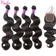 Vanlov Hair Peruvian Body Wave Human Hair Bundles With Closure 4 Bundles With Closure 4X4 Remy Jet Black Hair Bundles 5 PCS(China)