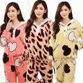 Otoño invierno 2 unids establece Coral Pijamas Homewear Lindo Camisas y Pantalones establece Mujer Flannet Nueva ropa de Dormir de Invierno Pijama de Terciopelo