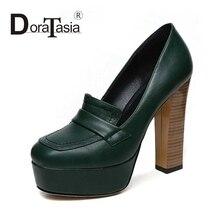 DoraTasia Big Size 32-42 Sexy Women Square High Heels Party Wedding Shoes Round Toe Platform Pumps Black Green