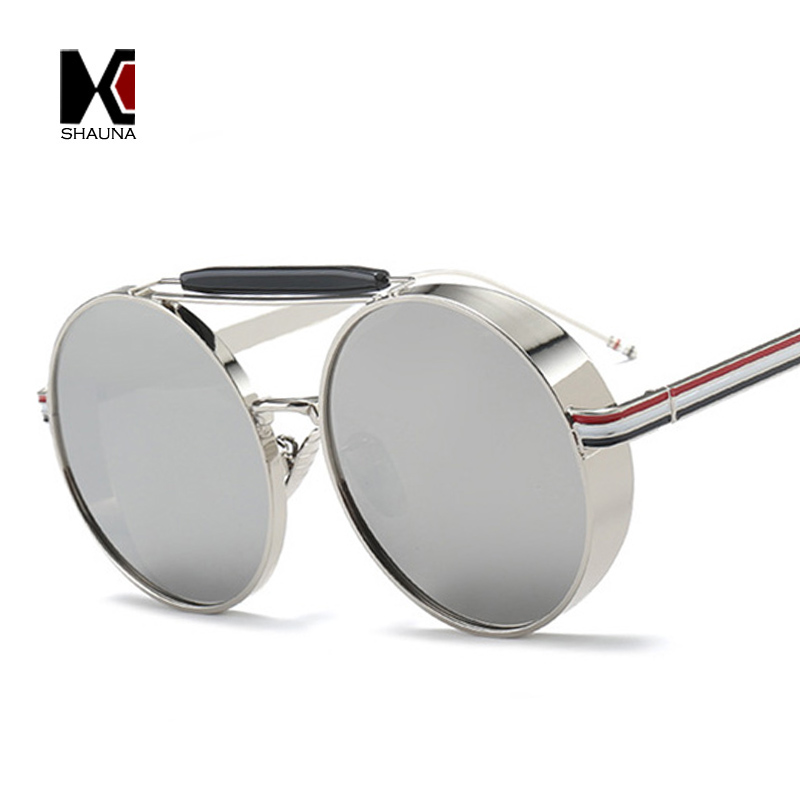 c18a39ca31 SHAUNA Oversize Thick Metal Frame Women Round Sunglasses Retro Double  Bridges Men Blue Tinted Lens Goggle Shades UV400-in Sunglasses from Apparel  ...