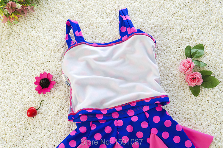 Sweet Design Kids Swimsuit Quality Girls Swimwear Teenagers Two-pieces Blue Pink Dots Bath Suit Infant Children Beachwear