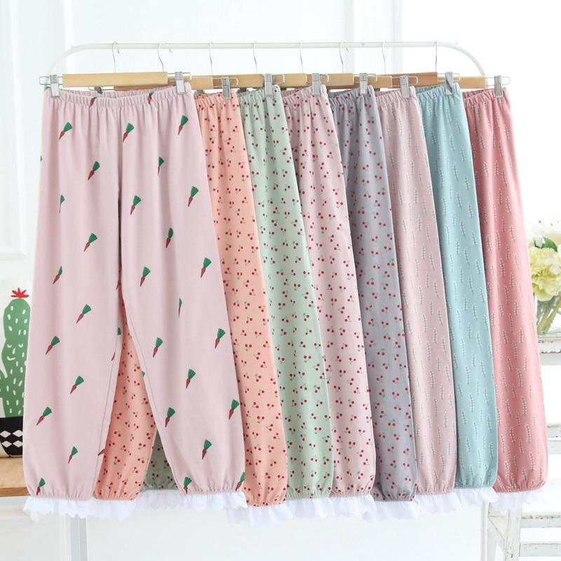 Japanese Cute Fashion Pajama Pants Women Summer Kawaii Plus Size Lace Loose Sleep Trousers Cotton Thin Lounge Home Pants
