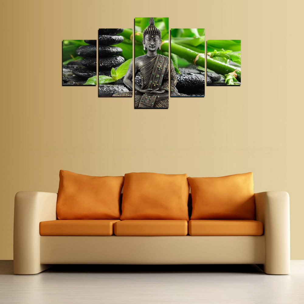HD Picture Canvas Print Lucky Bamboo And Buddha Painting Art Picture ...