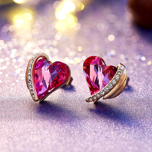 Image 2 - CDE Women Gold Earrings Jewelry Embellished with Crystals from Swarovski Pink Angel Wings Heart Stud Earrings Fine Jewelry Gifts
