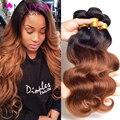 7A Grade Brazilian Body Wave 3 Bundles Ombre Human Hair Weave 1B/33#  Ombre Brazilian Hair Soft Brazilian Virgin Hair Body Wave