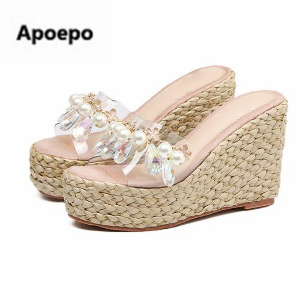 Apoepo brand gladiator sandals summer crystal pearl sexy Transparent wedges shoes platform high heels slippers women chinelos hee grand summer glitter gladiator sandals 2017 casual wedges bling platform shoes woman sexy high heels beach creepers xwx5813