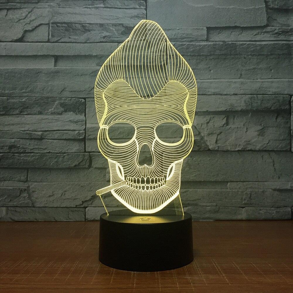 Monkey Skull Smoking 3D LED Color Night Light Changing Lamp Multi-colored Bulbing Light Acrylic 3D Hologram Illusion Desk Lamp novelty 3d full moon lamp led night light usb rechargeable color changing desk table light home decor 8 10 12 15 18 20cm