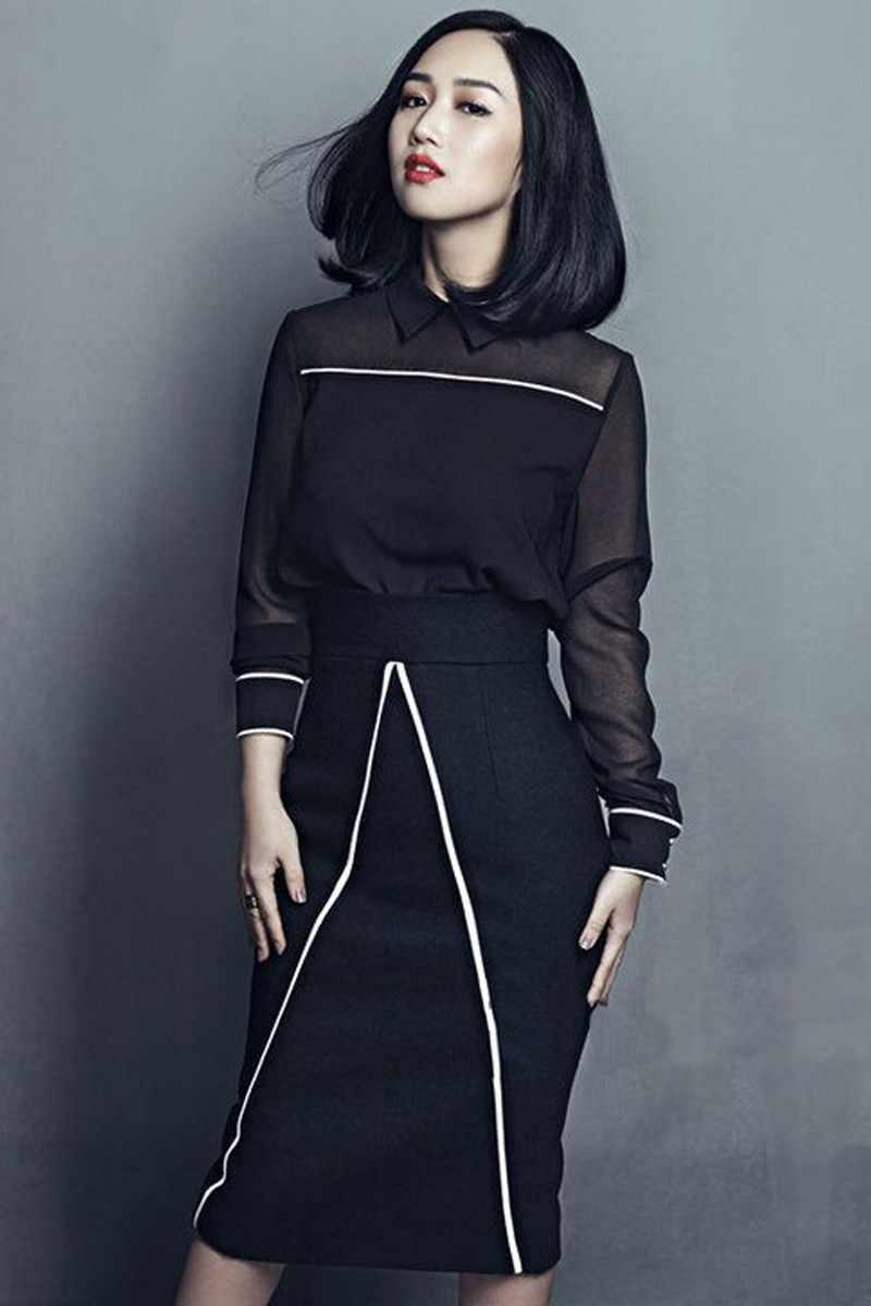 f72cda35c ... autumn and winter women's net yarn black crop tops +Stitching pencil skirt  suits female black