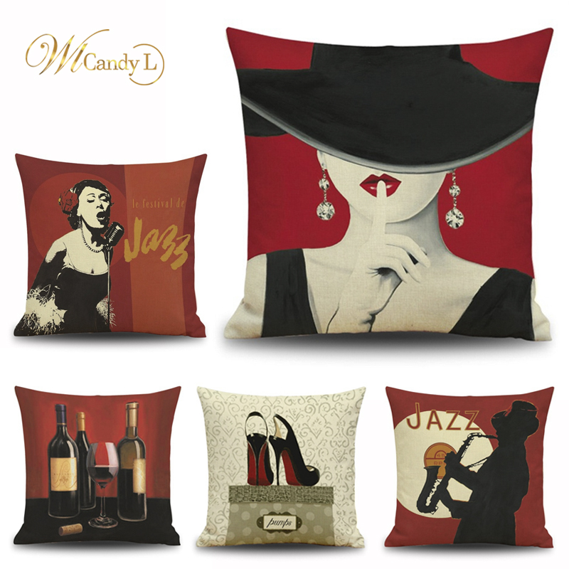 WL Candy L Rub Lipstick Girl Art Cushion Cover Cotton Linen Red Wine High heels Car Seat Sofa Decor Home Decoration Pillow Cover
