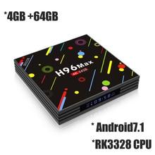 4GB RAM 64GB ROM Smart TV Box Android 7.1 RK3328 Quad Core Mini PC 2.4G/5G Dual Wifi 4K Media Player H96 Max H2 64G