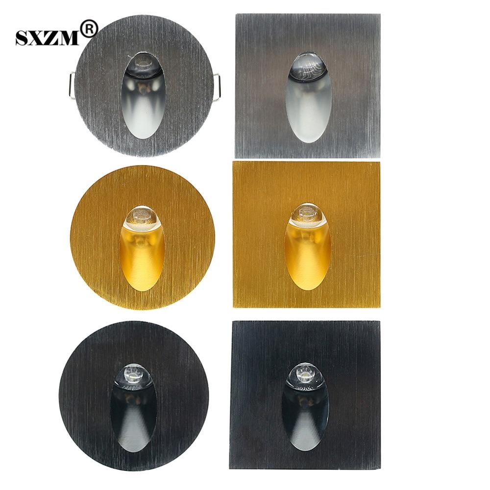 SXZM 1X3 W Led Footlight quadrato/Rotondo lampade da parete Argento/Oro/Nero per scale passo/percorso, luci a parete ad angolo con driver principale