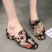 Europe Women Slippers High-heel Summer 2019 New Slides Fashion Crystal Print Casual Shoes Square Heel Elegant Sweet