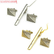 XIAONAINSHI Cuff links Good High Quality silver necktie clip for tie pin for men White Crystal tie bars cufflinks tie clip set(China)