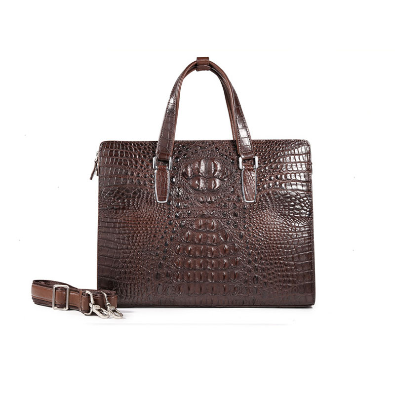 True Crocodile Skin Men's Handbag Business Leather Briefcase Bag  Shoulder   Messenger High-end Fashion