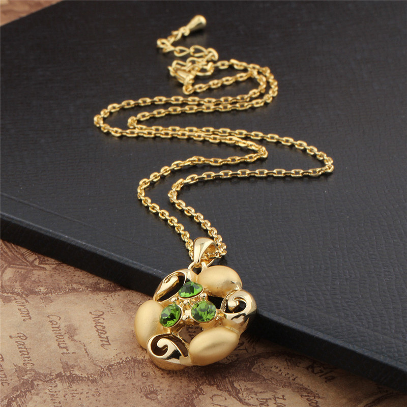 Hot new green rhinestone flower gold necklace chains collier ...