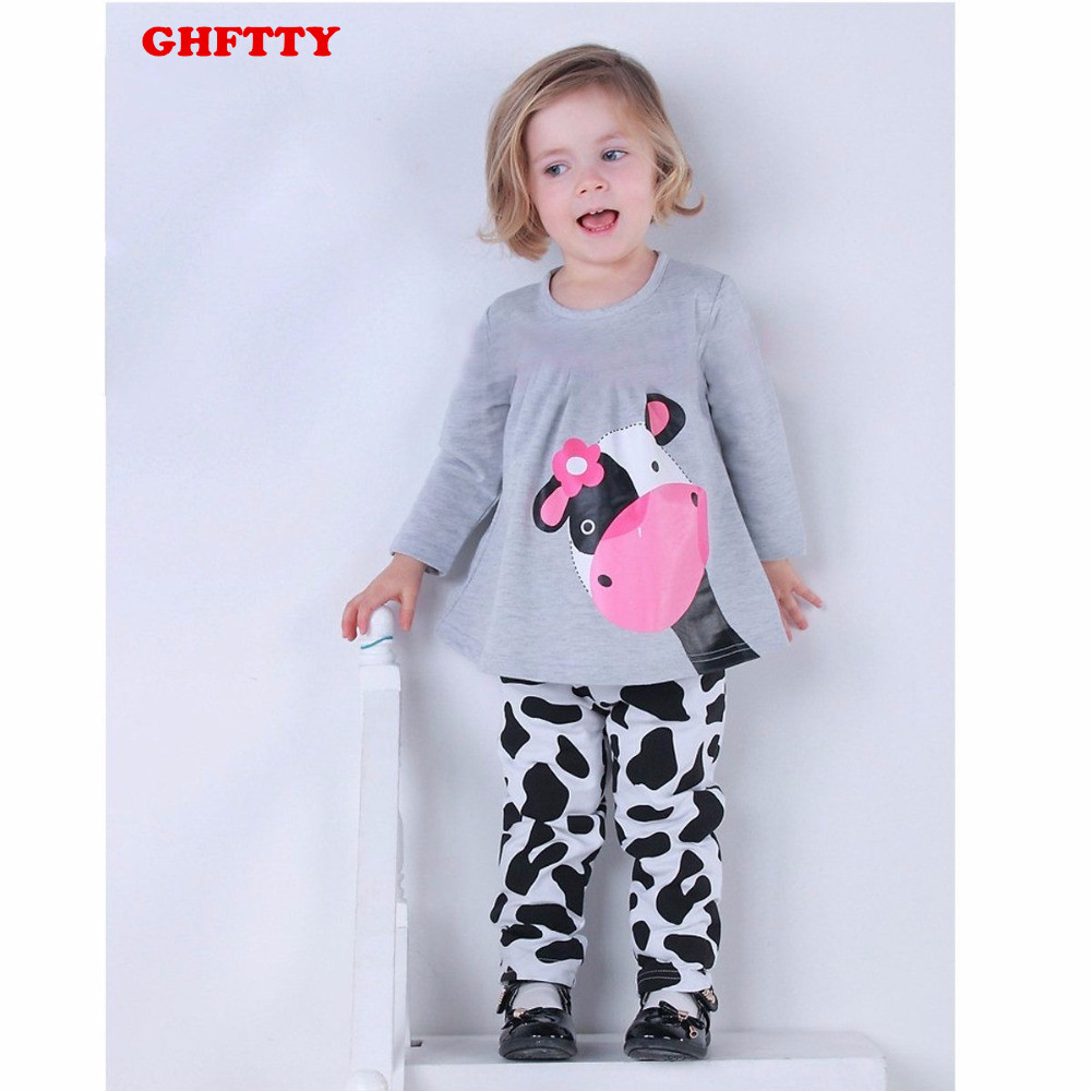 2017 Autumn Winter Baby Girls Clothes Sets Kids Casual Long-sleeved T-shirt+Pants Suit Tracksuit the Cow Boys Girl Suits