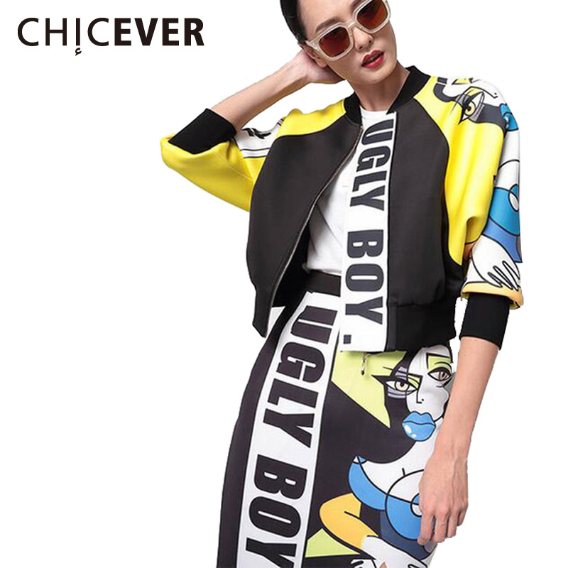 [CHICEVER] 2017 Spring Women Cartoon Letter Air layer jacket Female Baseball Stand Collar Tops Sleeveless Coats Clothes Fashion