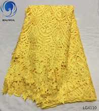 BEAUTIFICAL Yellow Cord lace fabric Fashion design nigerian guipure for wedding african water soluble LG41