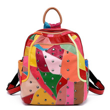 2018 New Fashion Women sheepskin Leather Backpack Ladies Rivet High Capacity Laptop School Bags B31 mochila feminina