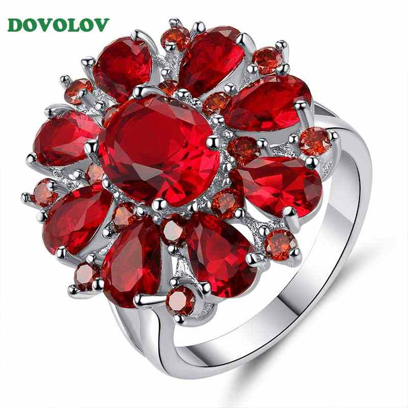Dovolov Red Zircon Jewelry FlowersWedding Rings For Women Red Crystal Engagement Proposal Ring Accessory for Female D3