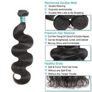 Image 2 - Ali graça cabelo peruano onda do corpo 100% cabelo humano com 4*4 parte média livre fechamento do laço pacote ofertas cor natural remy cabelo