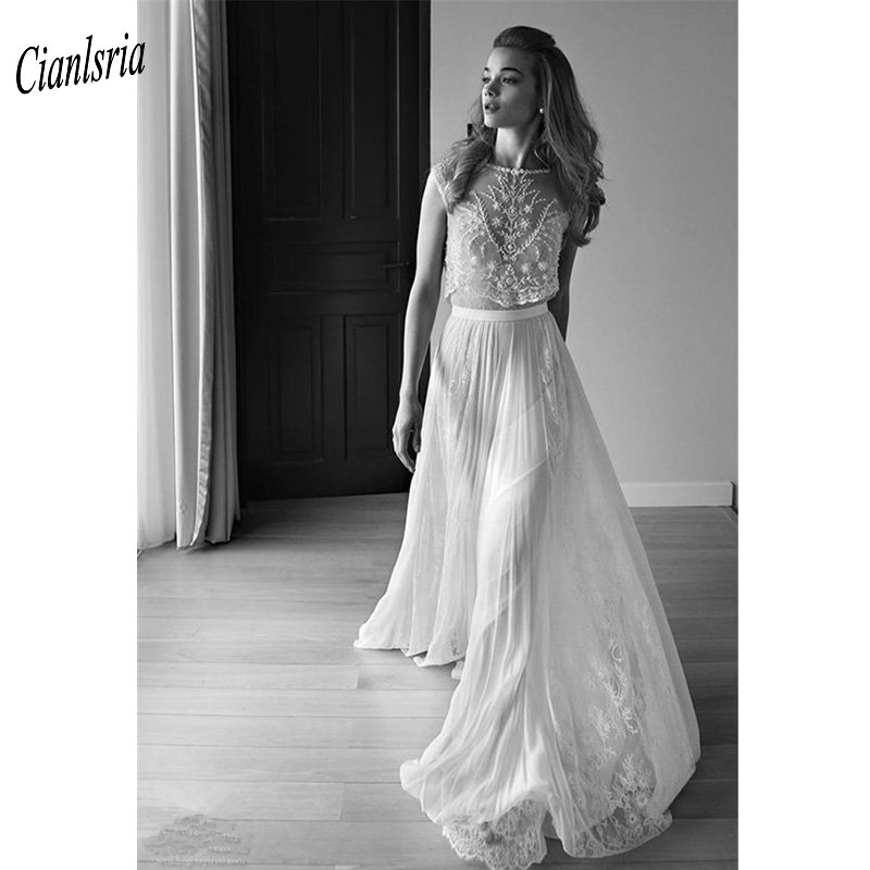 Two Pieces Backless Beach Bohemian Wedding Dresses Plus Size 2019 Appliques  Lace Beading Pearls Boho Wedding Bridal Gowns January 2020