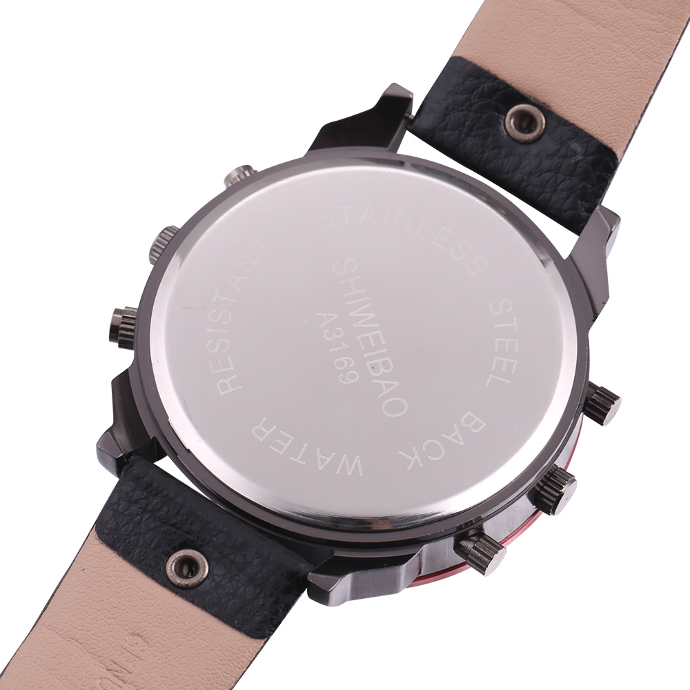 top luxury dz style mens watches cool quartz watch for men black leather strap dual time zones male clock (12)
