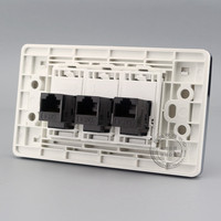Gigabit Wall Plate 3 Ports Network LAN RJ45 Cat6 Jack Panel Socket Faceplate Outlet Adapter 120