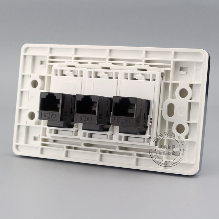 Gigabit Wall Plate 3 Ports Network LAN RJ45 Cat6 Jack Panel Socket Faceplate Outlet Adapter 120*70mm Home Adapter atlantic brand double tel socket luxury wall telephone outlet acrylic crystal mirror panel electrical jack