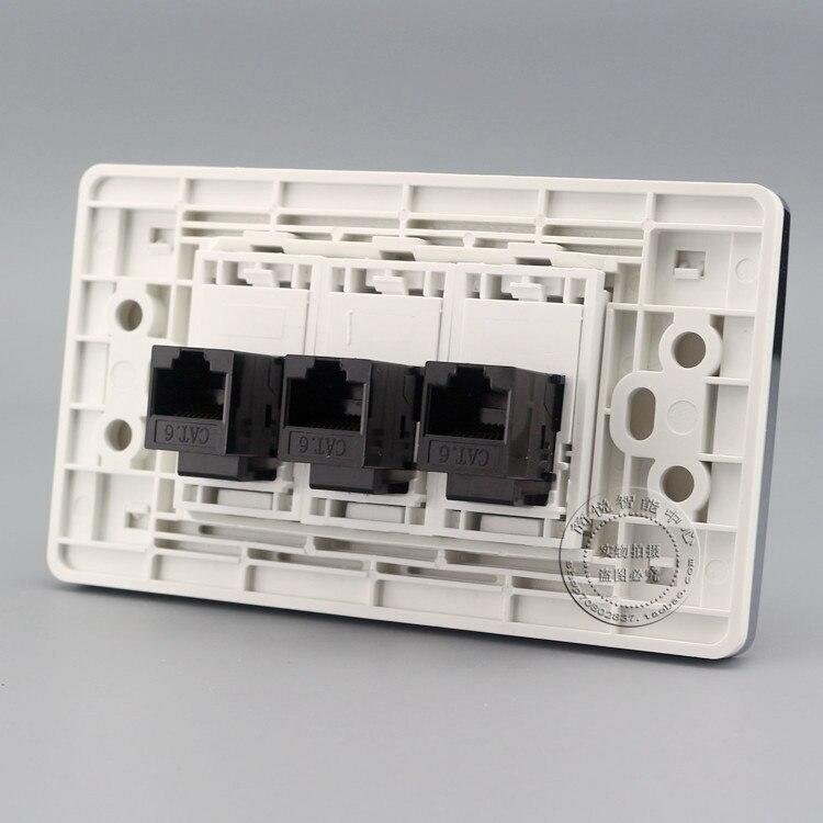 Cat6 Network Faceplate Gigabit Wall Plate 2 Ports Cat3 RJ11 Telphone Socket