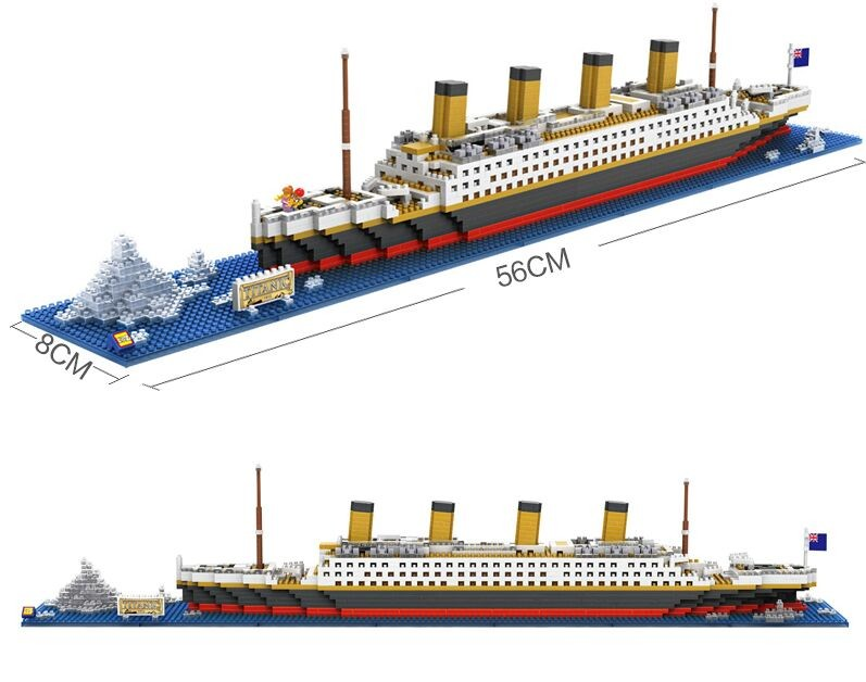 Hot titanic ship 1860pcs building blocks toy titanic boat for Cost of building blocks in jamaica 2017