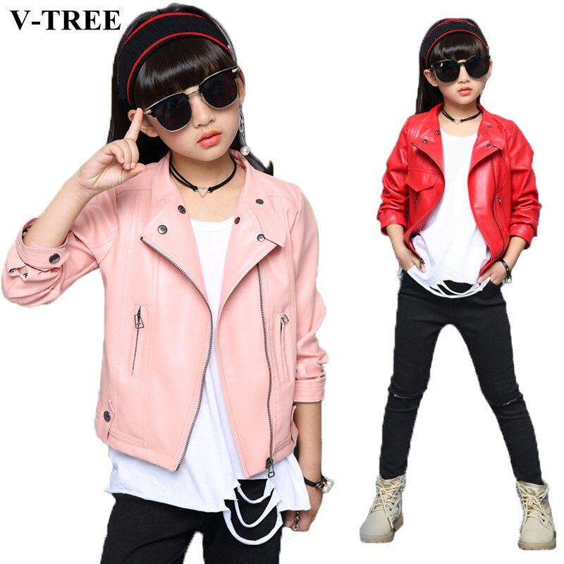 все цены на V-TREE Girls Jacket Fashion Autumn Imitation Leather Jackets For Teenage Girl Spring Children Outerwear Kids Coat Christmas Tops онлайн