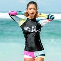 Sbart 2 Pieces 1 Set Rash Guard Set Women Long Sleeve Swimsuits T Shirts+Board Shorts Female Swimwear Bathing Suits 2018 DBO