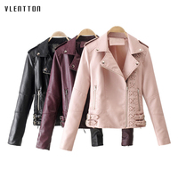 High Quality 2019 New Short PU Leather Jacket Women Lace Up Long Sleeve Bikers Jacket Spring autumn Casual Women Basic Coat